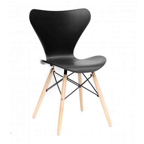Купить Стул Max (Макс) пластик черный, деревянные ножки