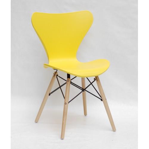 Купить Стул Max (Макс) пластик желтый, деревянные ножки