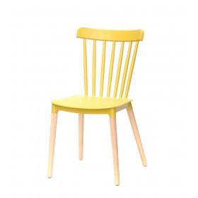 Стул Tim (Тим) на деревянных ножках, пластик желтый