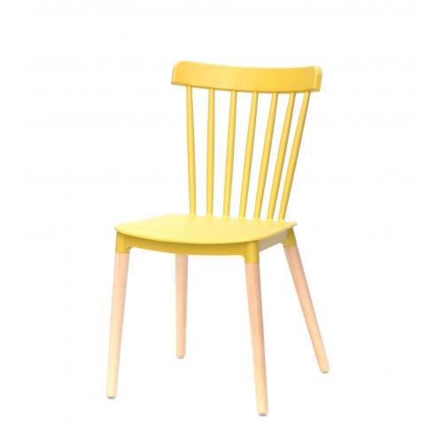 Купить Стул Tim (Тим) на деревянных ножках, пластик желтый