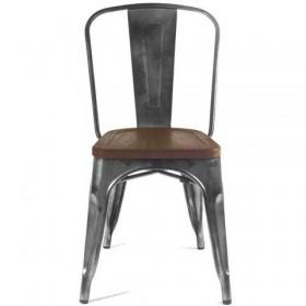 Стул барный Толикс Вуд металл, матовый черный, деревянное сидение