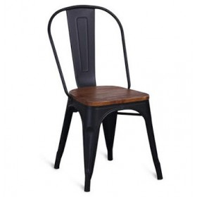 Стул барный Толикс Вуд металл, глянцевый черный, деревянное сидение