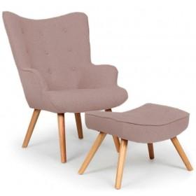 Кресло Флорино с табуреткой, оттоманкой, коричневое, мягкое