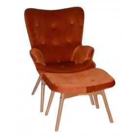 Кресло Флорино с табуреткой оранжевое, велюр натуральный, бархат