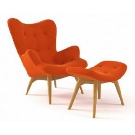 Кресло Флорино с табуреткой, оттоманкой, оранжевое, мягкое