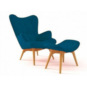 Кресло Флорино с табуреткой, оттоманкой, синее, мягкое