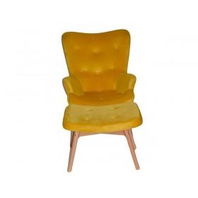 Кресло Флорино с табуреткой желтое, велюр натуральный, бархат